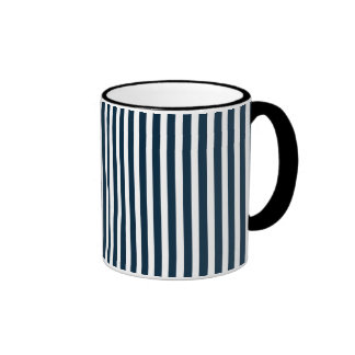 Blue & White Christmas Candy Cane Pattern Mugs