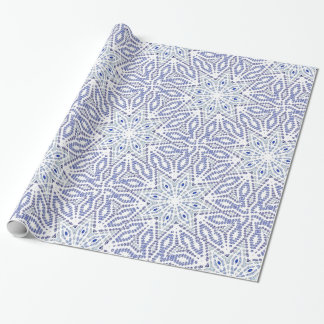 Blue White Christmas Star Modern Geometric Pattern Wrapping Paper