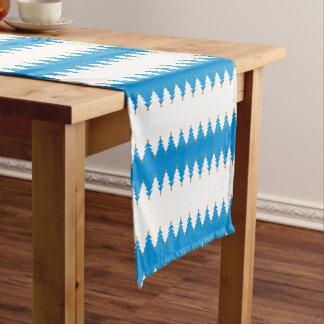 Blue White Christmas Tree Pattern Short Table Runner