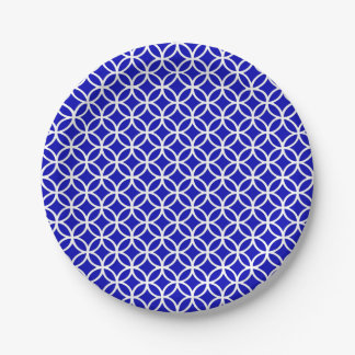 Blue White Circle of Life 7 Inch Paper Plate