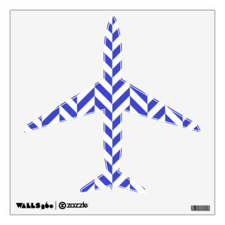 """Blue White Classic Airplane 12"""" Wall Decal"""
