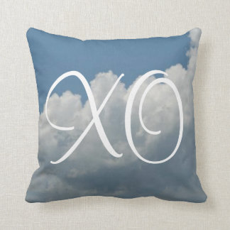 Blue White Clouds XO Hugs And Kisses Reversible Throw Pillow