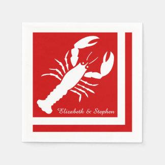Blue | White Color Blocked Lobster Monogram | Name Paper Napkin