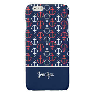 Blue White & Coral Red Nautical Boat Anchors