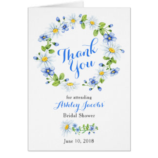 Blue White Country Daisy Bridal Shower Thank You Card