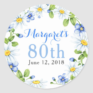 Blue White Country Daisy Floral 80th Birthday Classic Round Sticker