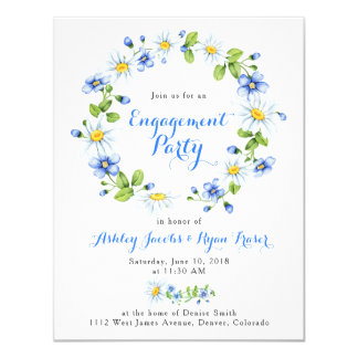 Blue White Country Daisy Floral Engagement Party Card