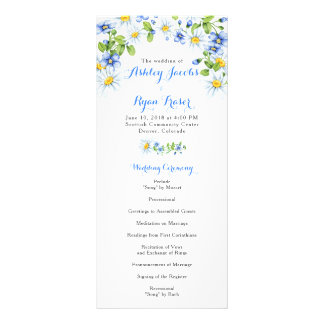 Blue White Country Daisy Floral Wedding Program
