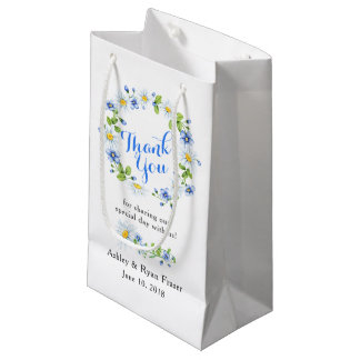 Blue White Country Daisy Floral Wedding Thank You Small Gift Bag