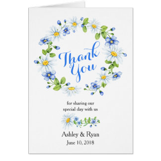 Blue White Country Daisy Photo Wedding Thank You Card