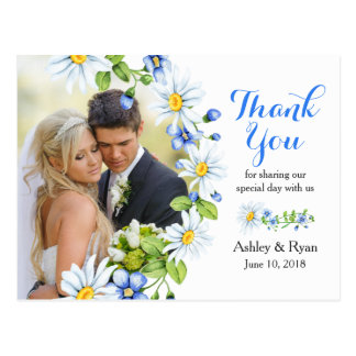 Blue White Country Daisy Photo Wedding Thank You Postcard