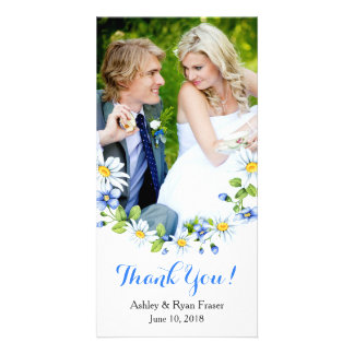 Blue White Country Daisy Wedding Thank You Card