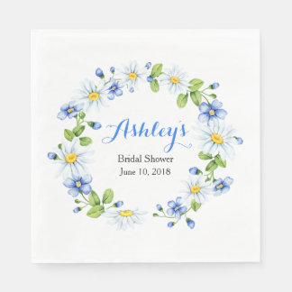 Blue White Country Daisy Wreath Bridal Shower Disposable Napkin