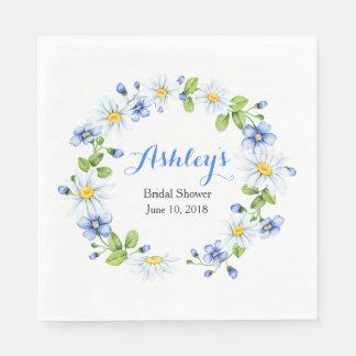 Blue White Country Daisy Wreath Bridal Shower Napkin