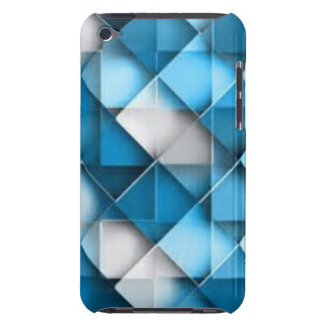 Blue & White Curved Diamond Shape Pattern design Barely There iPod Cover