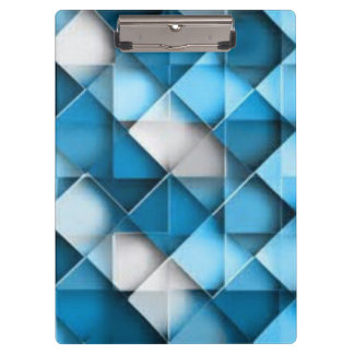 Blue & White Curved Diamond Shape Pattern design Clipboard