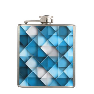 Blue & White Curved Diamond Shape Pattern design Flasks