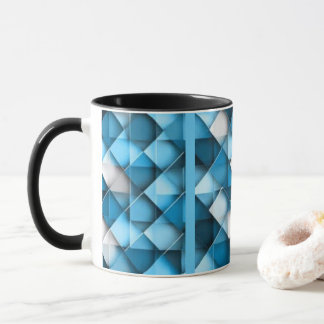 Blue & White Curved Diamond Shape Pattern design Mug