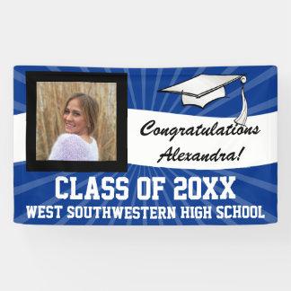 Blue/White Custom Photo Graduation Sign