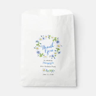 Blue White Daisy Floral 80th Birthday Thank You Favour Bag