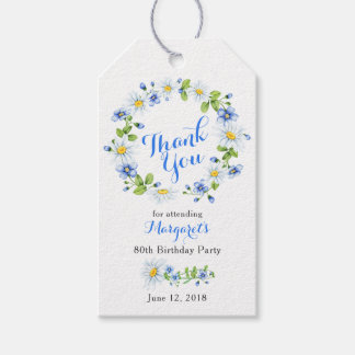 Blue White Daisy Floral 80th Birthday Thank You Gift Tags