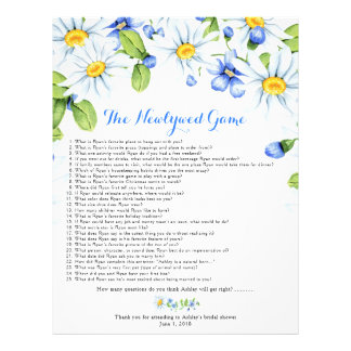 Blue White Daisy Floral Bridal Shower Games Flyer