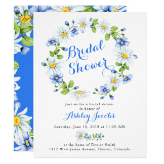 Blue White Daisy Floral Bridal Shower Invitation