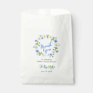 Blue White Daisy Floral Bridal Shower Thank You Favour Bag