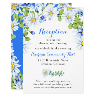 Blue White Daisy Floral Wedding Reception Insert Card