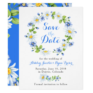 Blue White Daisy Floral Wedding Save the Date Card