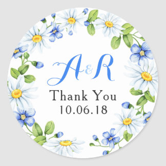 Blue White Daisy Floral Wedding Thank You Classic Round Sticker