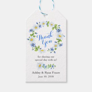 Blue White Daisy Floral Wedding Thank You Gift Tags