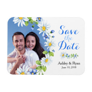 Blue White Daisy Photo Wedding Save the Date Magnet