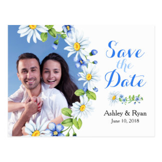 Blue White Daisy Photo Wedding Save the Date Postcard