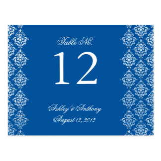 Blue White Damask Arabesque Table Number Card