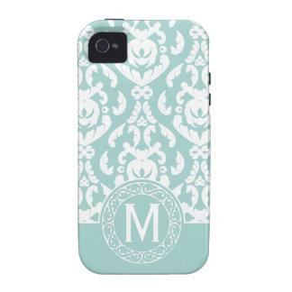 Blue White Damask Monogram iPhone 4/4S Cases