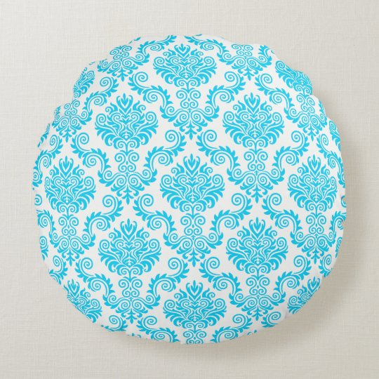 Blue & White Damask Pattern{pick your colour} Round Pillow