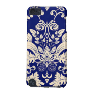 Blue & White Damask Pattern Print Design iPod Touch (5th Generation) Covers