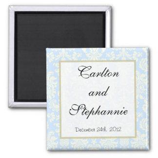 Blue/White Damask Wedding Magnet Favor