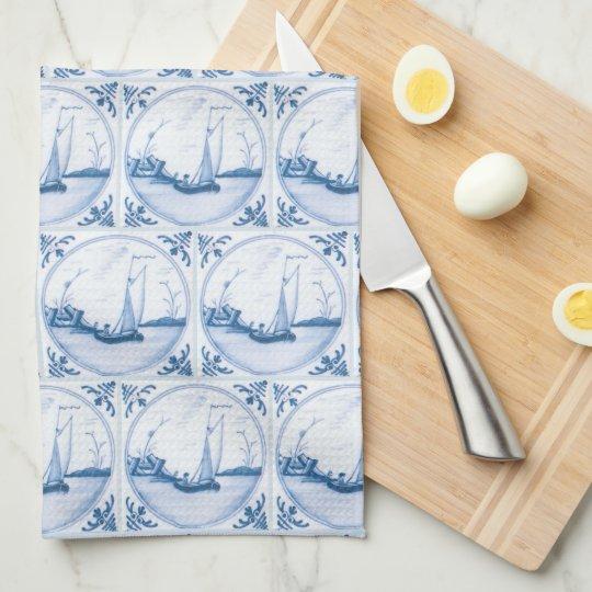 Blue White Delft Sailboat Kitchen Towel