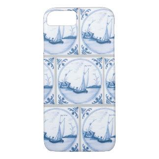 Blue White Delft Sailboats Faux Tiles iPhone Case