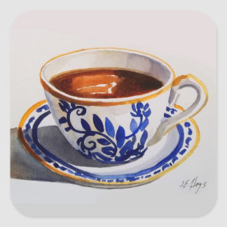 Blue & White Delft Teacup Sticker