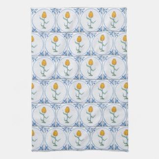 Blue White Delft Tulip Faux Tiles Kitchen Towel