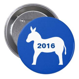 Blue White Democrat Donkey 2016 Election Button