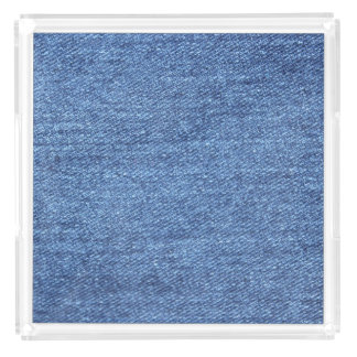 Blue White Denim Texture Look Image Acrylic Tray