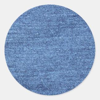 Blue White Denim Texture Look Image Classic Round Sticker