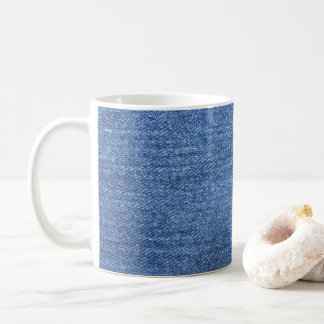 Blue White Denim Texture Look Image Coffee Mug