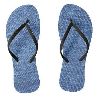 Blue White Denim Texture Look Image Flip Flops