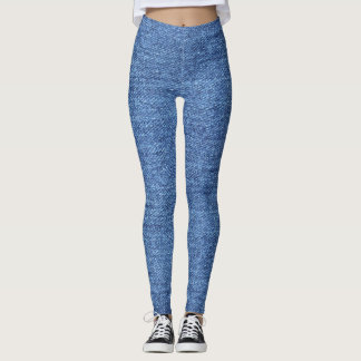 Blue White Denim Texture Look Image Leggings