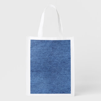 Blue White Denim Texture Look Image Reusable Grocery Bag